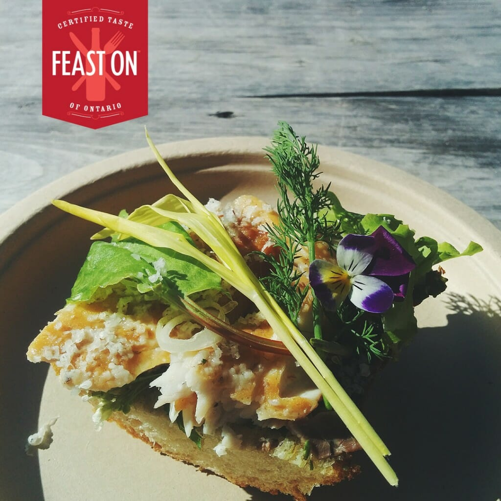 Feast ON: The Masonry. Lake Erie Bass smoked on The Egg with charred scallion pesto and local greens
