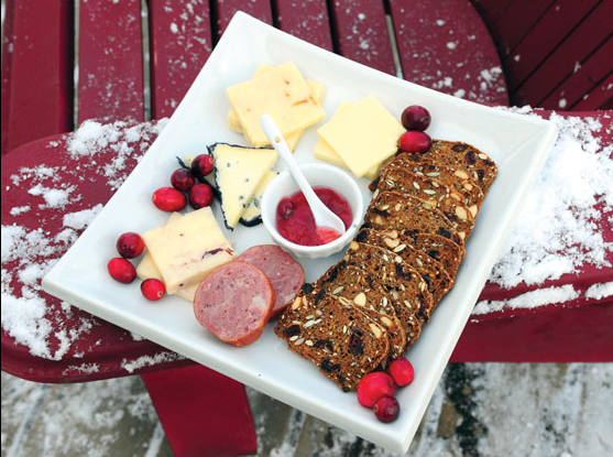 The artisanal offerings include cranberry preserves and a selection of Ontario cheeses.