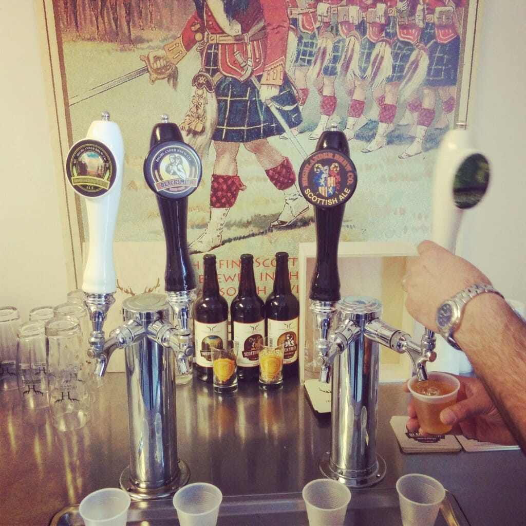 The tasting taps at Highlander Brewing Co.